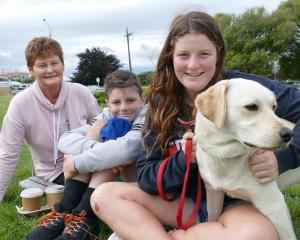 Joy Sheppard, of Balclutha, grandchildren Clayton (11) and Jess (15) Sheppard, of Paretai, and...