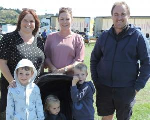 Back: Belinda Brosnan, Holly and Brent McCone. Front: Owen (5), Ivy (2) and Henry (5) McCone.