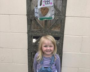 For feathered friends . . . Nellie Hanning (4), at home in Abbotsford with her homemade birdhouse...
