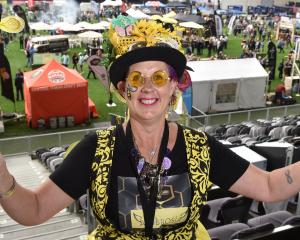 Vicki ''Purple'' Yarker-Jones promotes honey mead and the cause of bees at the Dunedin Craft Beer...