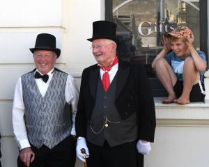 Three suitably attired gents enjoy their day out at the Oamaru Victorian Heritage Celebrations on...