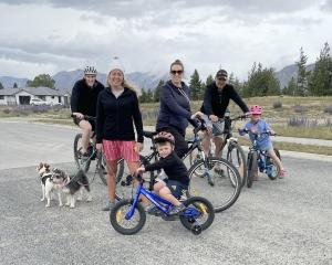 Out and about in Tekapo on Christmas Day are (from left) Simon Rae, Brooke Reichel, Sarah Rae,...
