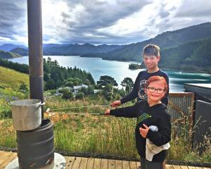 Toasting marshmallows in Cissy Bay, Marlborough Sounds, are Jesse-Alan Taylor (10) with his...
