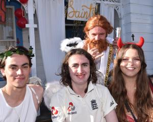 The theme was Saints and Sinners for (from left, at front) Ciaran Naylor, Max Tierney, Lara...