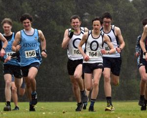 The start of the under-19 race during the Otago Secondary Schools Cross Country champs at...