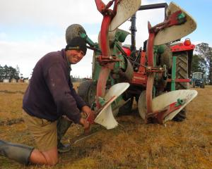 Ashley Seaton, of Kirwee, beat national champion Bob Mehrtens in the Silver Plough reversible...