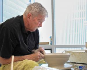 Neil Grant works in the ceramics studio at Dunedin Art School.