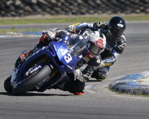 Christchurch's Alastair Hoogenboezem in front of current national supersport and former speedway...