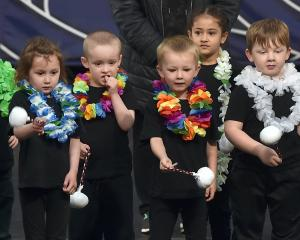 Children from the BestStart Mosgiel childcare centre give a poi performance with poise.