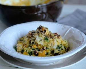 Pumpkin and kale risotto with brown butter hazelnuts. Photo: Simon Lambert