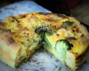 Cauliflower, broccoli and leek pie. Photo: Simon Lambert