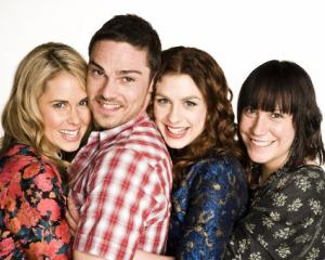 Jay Ryan stars as Kev in Go Girls with (from left) Anna Hutchison (Amy), Alix Bushnell (Britta)...