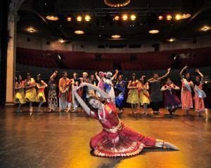 Sarangi Sabu leads a rehearsal of A Night At The Museum at the Regent Theatre yesterday.  ...
