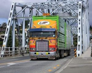 A truck crosses the Alexandra bridge, which will be strengthened in the coming months so it can...