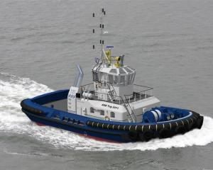 A  Damen-made tug similar to  Taiaroa, which is on its delivery voyage to Port Otago. Photo...