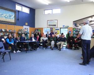 A group of Maniototo and Ranfurly residents listen to Central Otago Mayor Tony Lepper at a...