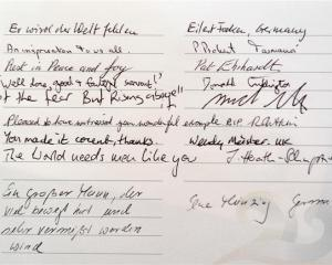 A page from Nelson Mandela's condolence book at St Paul's Cathedral yesterday.  Photo by Gerard O...