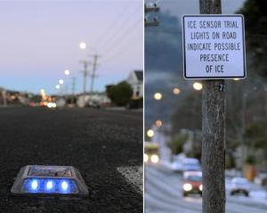 A section of North Rd, in Northeast Valley, is being used to trial ice sensors which flash blue...