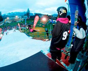 A skier prepares to take on the rail in last year's Parklife Invitational at the Queenstown...