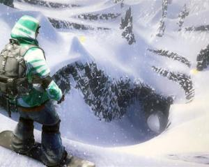A snowboarder pauses before tackling a mountain in the yet-to-be-released EA Games SSX, which...