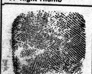 A thumbprint from Robin Bain, taken shortly after his death.  Photo from NZ Police.