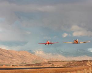 A Yak 52 (left) and Harvard T6 buzz  Wanaka airport yesterday afternoon. Photos by Leith Huffadine.