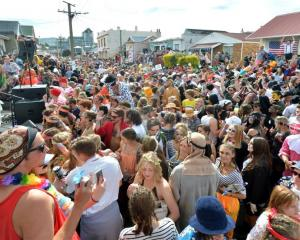 Almost 4000 revellers jammed into Hyde St in Dunedin for the annual keg party on Saturday. Photo...