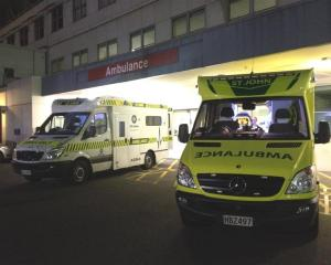 Ambulances outside Dunedin Hospital's emergency department.