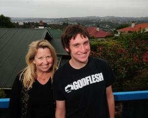 American permanent residents in Dunedin, Margi MacMurdo-Reading and her son, Walker MacMurdo (19)...