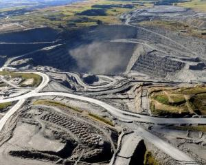 An aerial photo of Macraes mine.