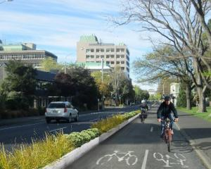 An artist's impression of a possible cycle lane on Dunedin's southbound one-way system. Image...