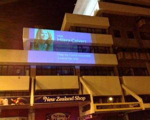 An image of Dunedin mayoral candidate Hilary Calvert appears on the side of the Dunedin City...