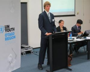 Aparima College pupil Israel Reid, of Riverton, presents the perspectives of Pakistan to fellow...