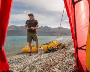 Arno Marten, Expedition X director and  guide, with his packraft. Photo supplied.