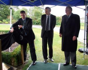 At the Telford ceremony  yesterday, (from left) Deputy Prime Minister  Bill English, Lincoln...