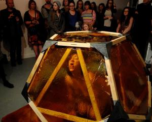 "Audrey Baldwin performs in ""Canker"" at the Blue Oyster Project Art Space last night. Photos by..."