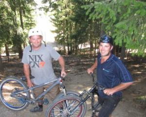 Bike Wanaka Inc members Dan Haydon (left) and Kris Carson inspect the area at Lismore Park where...
