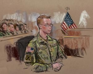 Bradley Manning is seen in a courtroom sketch. REUTERS/Bill Hennessy
