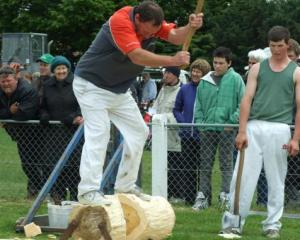 Brian Gutsell, of Gore, competes in the woodchopping section at the South Otago A and P Show in...