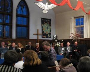 Candidates and audience assemble in Opoho Presbyterian Church. Photo by Peter Dowden