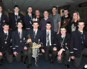 Celebrating Otago Boys' High School's NZ secondary schools basketball title win are (front row)...
