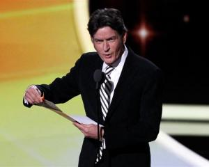 Charlie Sheen on stage at the 63rd Primetime Emmy Awards in Los Angeles this week. REUTERS/Mario...