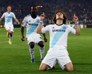 Chelsea's David Luiz (R) celebrates scoring against FC Basel during their Europa League semi...
