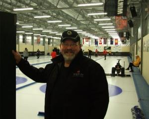 Chief icemaker Doug Wright in front of his ''domain'' - the Maniototo Curling International ice...