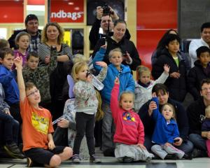 Children are quick to volunteer at the Cadbury Chocolate Fun Day in the Meridian mall in Dunedin...