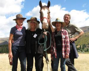 Chris Thompson (left), of Wanaka, Fleur Sullivan, of Moeraki, Magic, Deirdre Mackenzie, of...