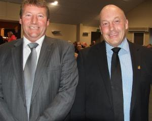 Clutha mayoral candidates Hamish Anderson (left) and Bryan Cadogan  at the Otago Daily Times  and...
