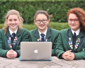Columba College pupils (from left) Ryely Burtenshaw-Day, Gabrielle Magnuson and Aicha Wijland...