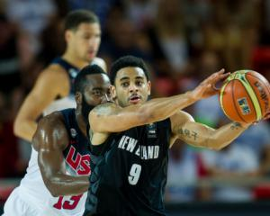 Corey Webster in action for New Zealand against USA earlier in the tournament. Photo by Getty