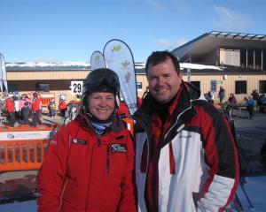 Coronet Peak Ski instructor Michele Fuller (left) with one of her students, Christopher Kingsley...